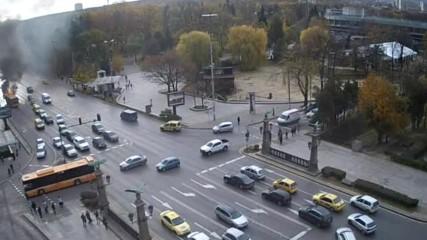 Автобус пламна в центъра на София