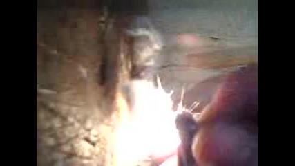 разпалка от памук искра от камъче на запалка