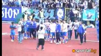09.05.2009 Край на мача: Радост в синьо,  разправии с полицията в червено