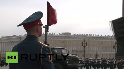Russia: Final rehearsal for V-Day in St. Petersburg's Palace Square sees tank ban broken again