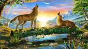 Песента на вълците! ... (painting) ... ( Leo Rojas Pan Flute)