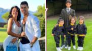 Спретнати и в униформи: Джорджина и Роналдо изпратиха децата на училище