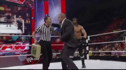 raw 30th june, 2014 dean ambrose stops seth rollins from cashing in money in the bank against cena