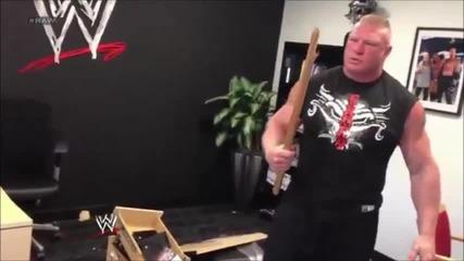 Брок Леснар отива в щаба на Wwe и унищожава стаята на Трите Ххх