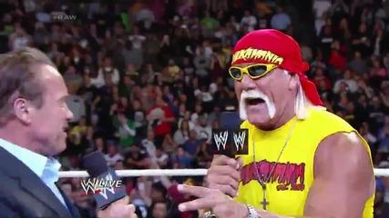 Arnold Schwarzenegger and Joe Manganiello join Hulk Hogan in the ring Raw, March 24, 2014