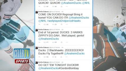 Emilio Estevez Gordon Bombay Live Tweets Playoff Game!