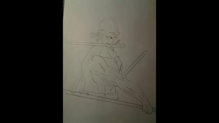 Как да нарисуваме Zoro с джедайски мечове (one Piece)