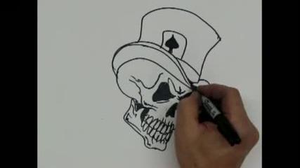 Как да нарисуваш череп с шапка и карта