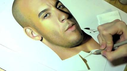 Невероятно рисуване на Vin Diesel