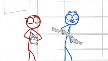 Dick Figures - Zombies Shotguns [ Високо Качество ]