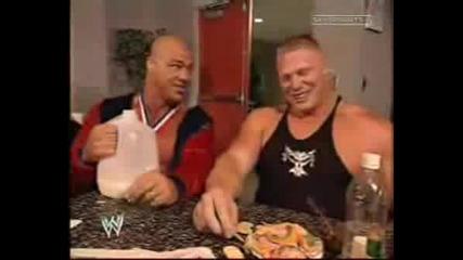 Brock Lesnar И Kurt Angle Забавен Момент
