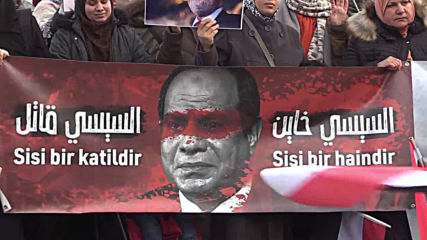 Turkey: Anti-Sisi protesters rally outside Egyptian consulate on revolution anniversary