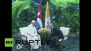 Cuba: President Raul Castro greets Pope Francis at Palace of the Revolution