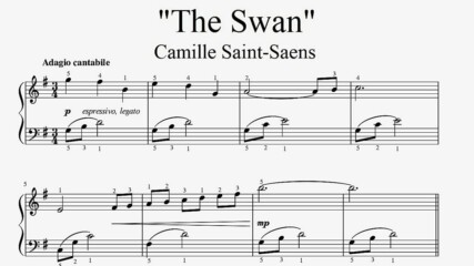 """Camille Saint-Saens - The Swan"" - Piano sheet music (by Tatiana Hyusein)"