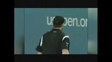 Федерер връща 225 км/ч сервис на Родик