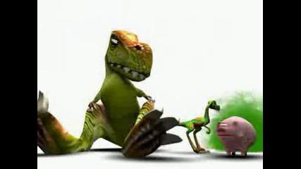 Натпръдване между динозаварче динозавар и свиня