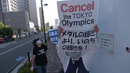 Japan: Protesters denounce Games outside Tokyo tennis finals venue