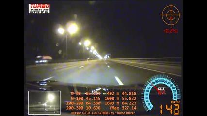 Nissan Gt-r пука гума със 327 km/h