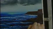 S02 Радостта на живописта с Bob Ross E09 - черен и бял морски пейзаж ღобучение в рисуване, живописღ