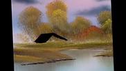 S08 Радостта на живописта с Bob Ross E02 - колиба до езеро ღобучение в рисуване, живописღ