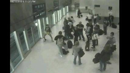 Crazy funny dancer at train station