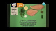 Пилешко с пюре от чесън, кръмбъл с круши, спаначена салата. - Бон Апети (04.03.2013)