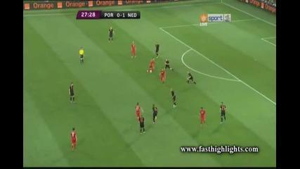 Кристиано Роналдо връща Португалия във мача със своя първи гол на Евро 2012 Португалия 1-1холандия