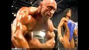 Bodybuilder Tim Varner flexes backstage