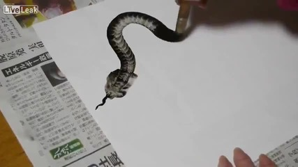 Удивително рисуване на змия с един замах