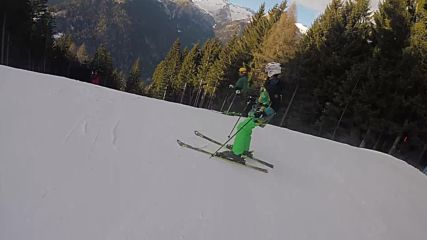 Alexander is carving in Madonna di Campiglio