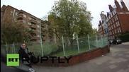 UK: Helmet camera captures man pushing female cyclist into traffic