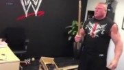 Brock Lesnar _destroys_ Triple Hs office at Wwe Headquarters - Raw_ May 6_ 2013