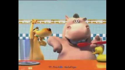 Hippo and Dog Brushing Teeth