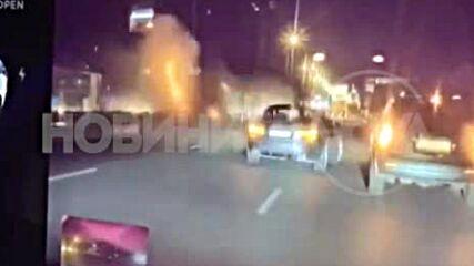 ЕКСКЛУЗИВНИ КАДРИ: Моментът на тежката катастрофа в София