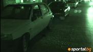 Погроми, счупени коли и стъкла на бул. - Мадрид - - ултрасите на Цска вилнеят