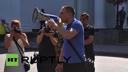 Ukraine: Svoboda supporters picket outside Odessa city council
