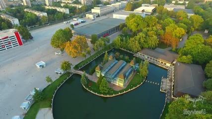 Полет с дрон и красотата на залеза над река Марица и над Пловдивския панаир