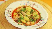 Пилешка супа с грах и картофи
