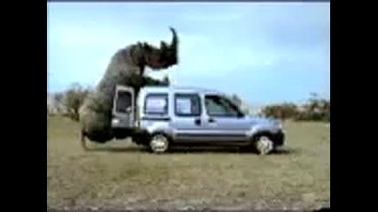 Носорог изнасилва микробус