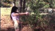 Mature brunette shooting her Glock 19.