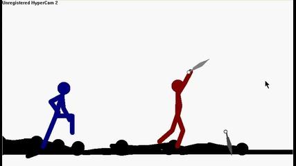 страшен бой.red vs Stick and Blue