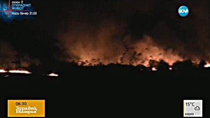 Огнена стихия изпепели десетки декари край Враца