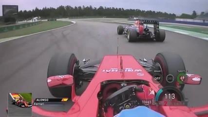 Alonso vs Ricciardo фантастична надпревара Германия 2014