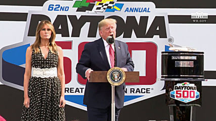 USA: Trump addresses Daytona 500 before historic NASCAR lap in presidential limo 'The Beast'