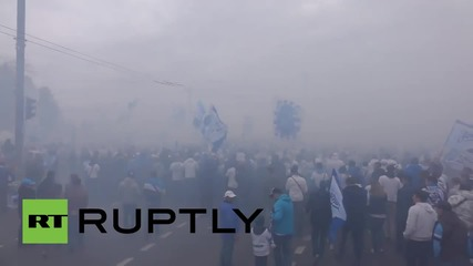 Russia: FC Zenit fans take part in 'Victory' march