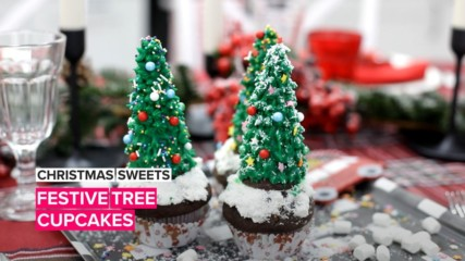 Christmas Sweets: Festive tree cupcakes