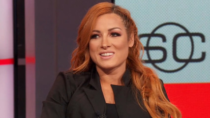 Ronda Rousey, Becky Lynch and Charlotte Flair join ESPN's SportsCenter to discuss main eventing WrestleMania