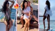 Родна красавица отпраши за топла дестинация с половинката си, показа секси дупе и закуска на плажа