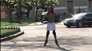Naked and Funny Sexy Stripper Rollerblader