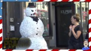 Страшен снежен човек плаши хората - Смях
